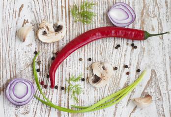 chilis, red onion,  mushrooms and garlic