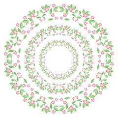 Spring flowers wreath isolated. Vector element