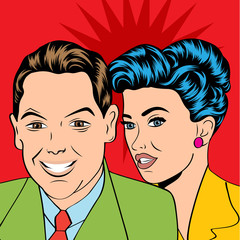 Man and woman love couple in pop art comic style