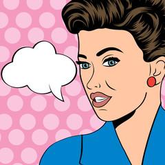 cute retro woman in comics style