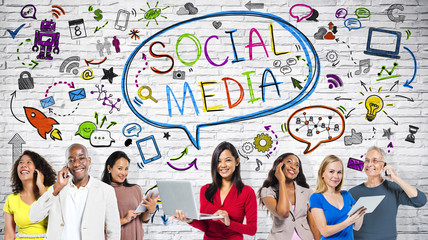 Group of World People Communicate via Social Networking