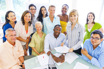 Group of Diverse Business Colleagues Enjoying Successful