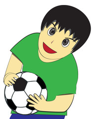 Little Boy carry soccer ball