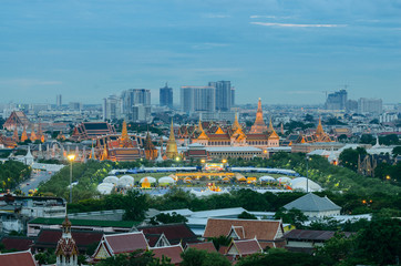 Grand Palace and Emerald Buddha Temple in twilight