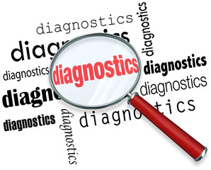 Diagnostics Word Magnifying Glass Finding Solution Problem Data