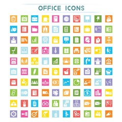 business icons, office icons, flat theme