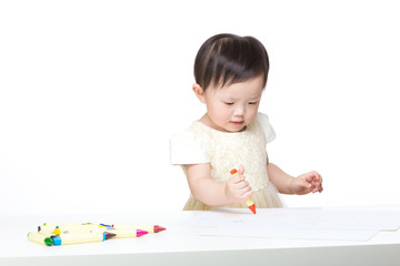 Asia baby concentrate on drawing