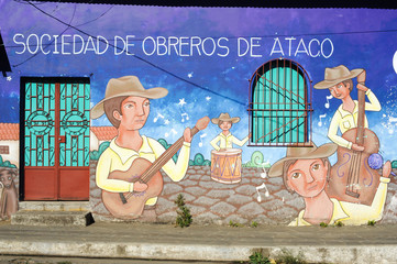 mural on a house at Ataco in El Salvador