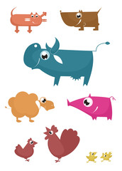Cartoon funny farm animals