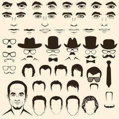 vector men  eye, lips, hair, face parts, head character
