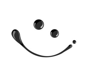 Black ink smile symbol vector  dark,oil