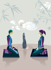Couple Practicing Zen Meditation