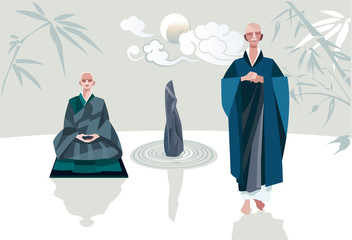 Zen Master and Disciple Vertical Horizontal