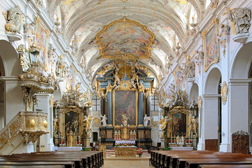 Interior of St. Emmeram's Basilica in Regensburg, Germany