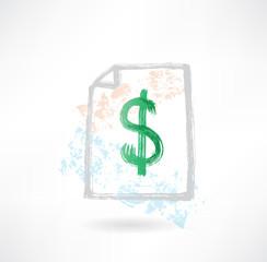 Paper dollar grunge icon