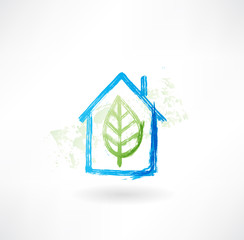 home leaf grunge icon.
