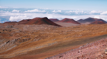 Extinct volcanic craters in background
