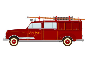 Vintage fire truck with a ladder on a white background.