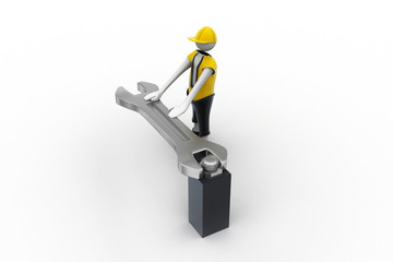 3d man with a wrench and a screw
