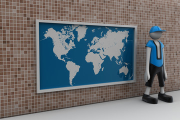 3d man with the world map