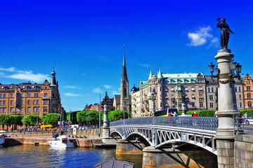 In de dag Stockholm scenic canals of Stocholm , Sweeden
