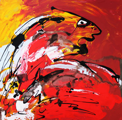 art composition of abstract tiger