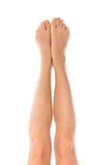 Beautiful woman legs knees and fingers