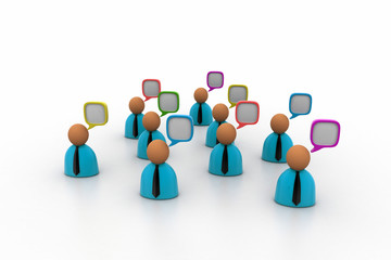 3d business people icon with speech bubbles