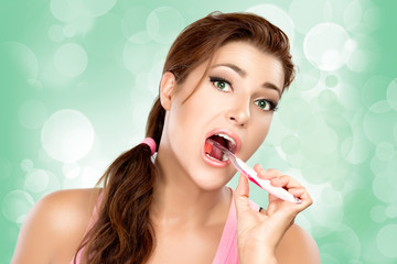 Attractive Young Woman Brushing Teeth