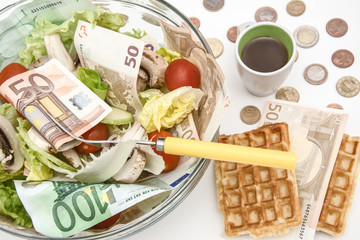 lettuce and cerry salad with Euro banknotes in it