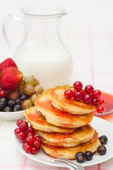 Delicious homemade pancakes with jam