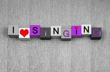 Wall Mural - I Love Singing, sign for song, music and karaoke, pink.