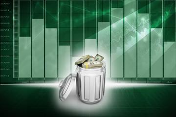 Currency note in trash bin