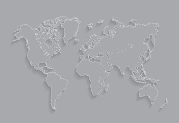 Border Worlds map vector Illustration.