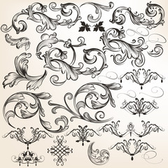 Vector set of decorative swirl elements for design