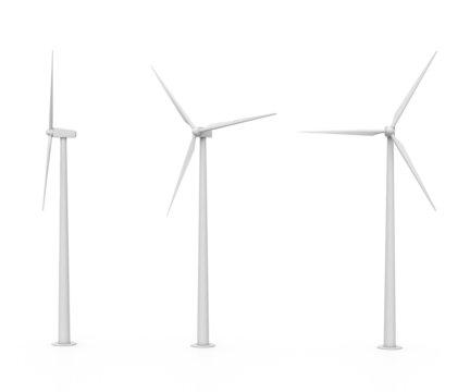 set of three various wind turbines isolated on white background