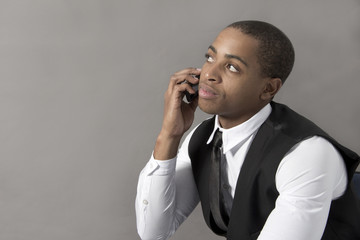 Young Black Man talking on the cellphone