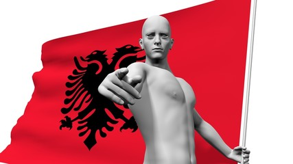 man with albania national banner