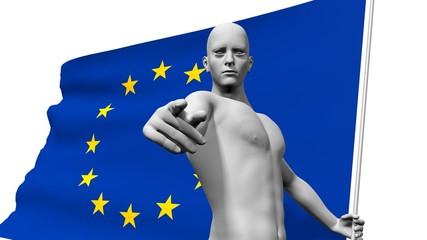 man with euro union banner