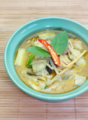Thai food green curry with chicken and vegetables