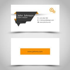 business card with dark paper sticker