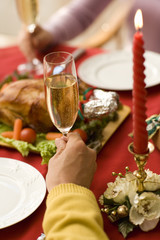 hand of husband and wife surrounding Christmas dinner