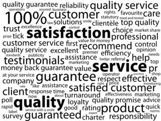 """SERVICE-QUALITY-SATISFACTION"" Tag Cloud (customer guarantee)"