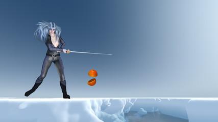 Schwertkämpferin in der Arktis zerteilt eine Orange