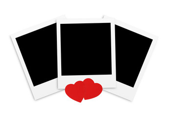 Photo papers card and red hearts isolated on white