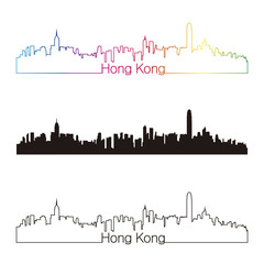 Hong Kong skyline linear style with rainbow