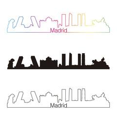 Madrid skyline linear style with rainbow