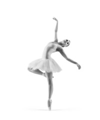 Black and white trace of a young ballet dancer