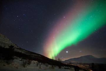 Colorful northern lights in Norway