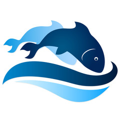 two fish on waves silhouette vector